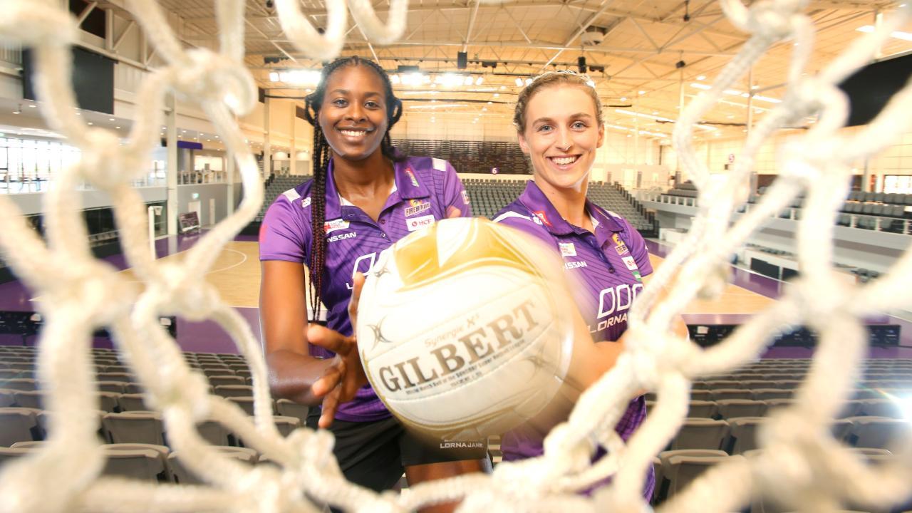 Romelda Aiken and Gabi Simpson excited by their new stadium.