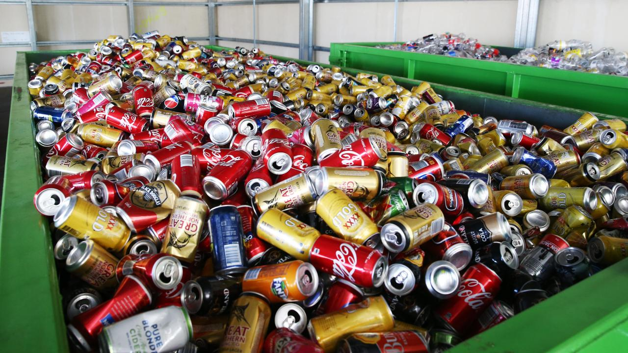 A container of returned cans at the Manunda depot in Cairns