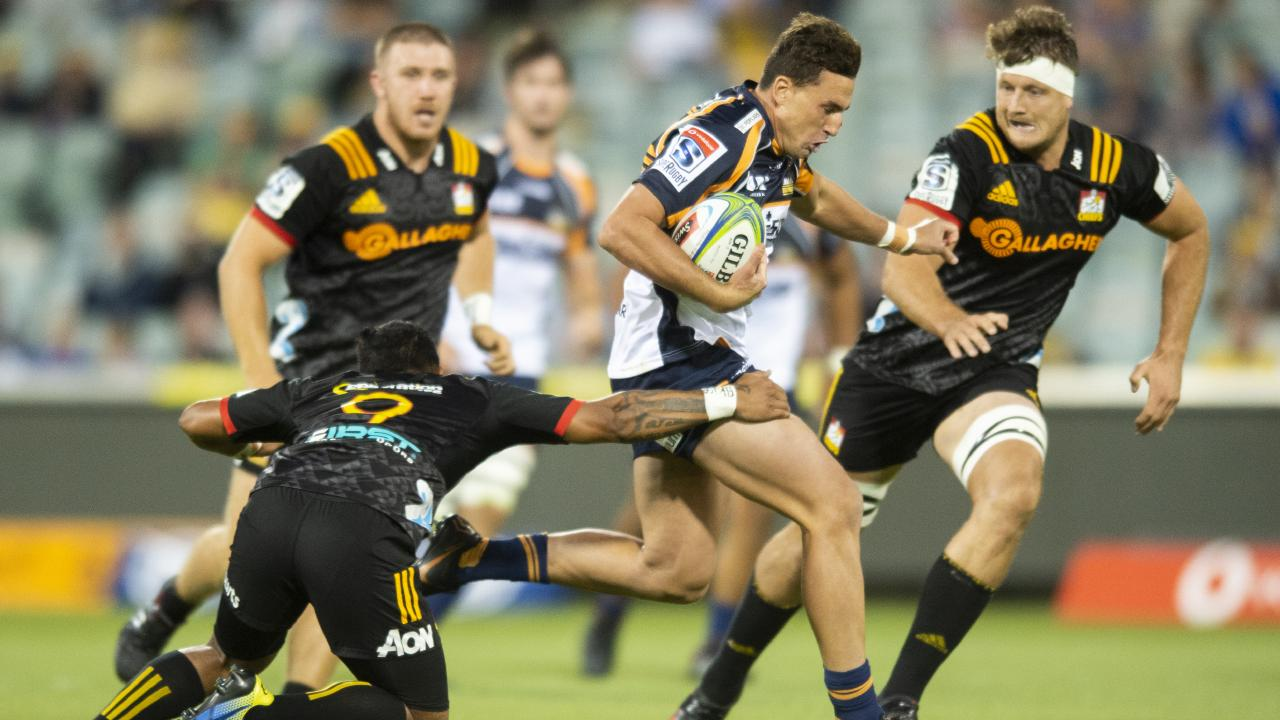 Brumbies fullback Tom Banks looks to burst through the Chiefs defence. Picture: AAP
