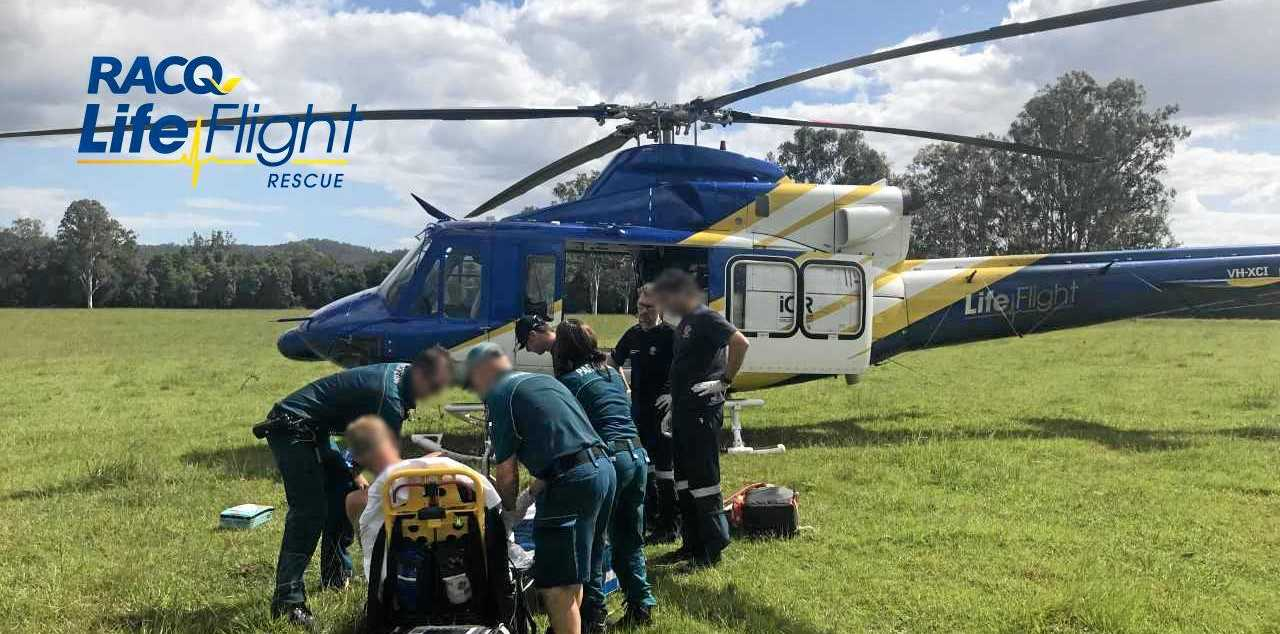 A man was flown to hospital with serious injuries yesterday after he was trampled by a cow.