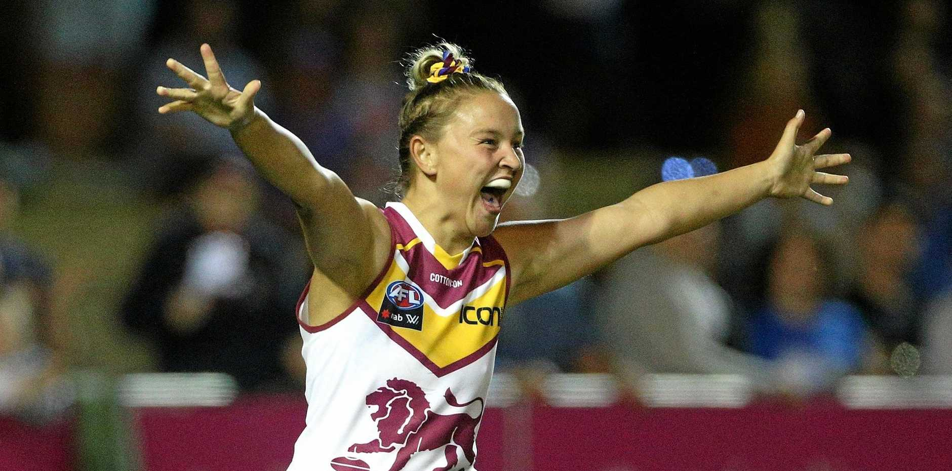 ELATION: Megan Hunt just seconds after she slotted the sealer against the Western Bulldogs.