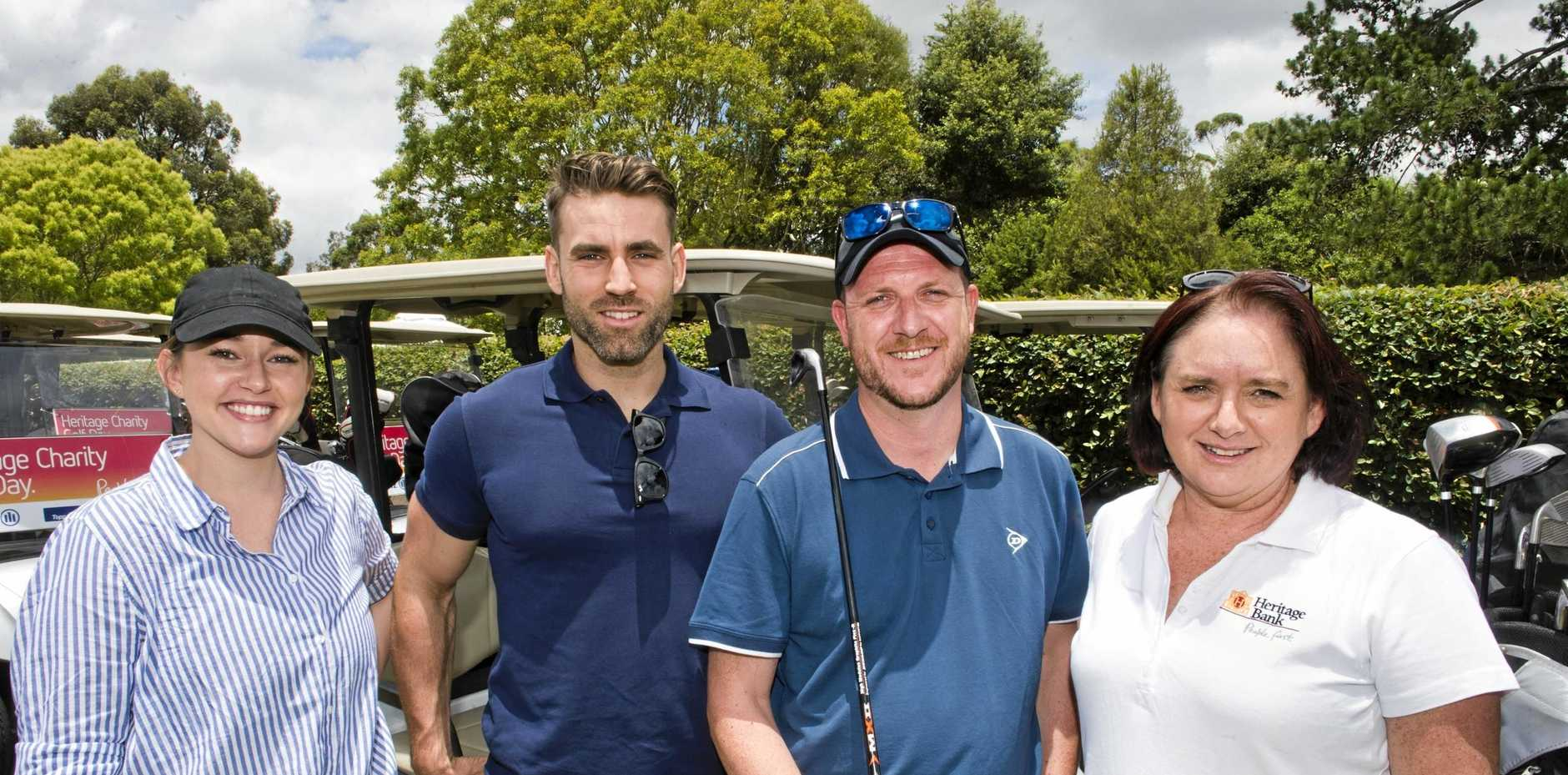 ON THE GREEN: Enjoying the Heritage Bank Charity Golf Day 2018 are (from left) Claire Overell, Nick Gregory and Andy Copeland with Heritage Banks Amanda Temperly.