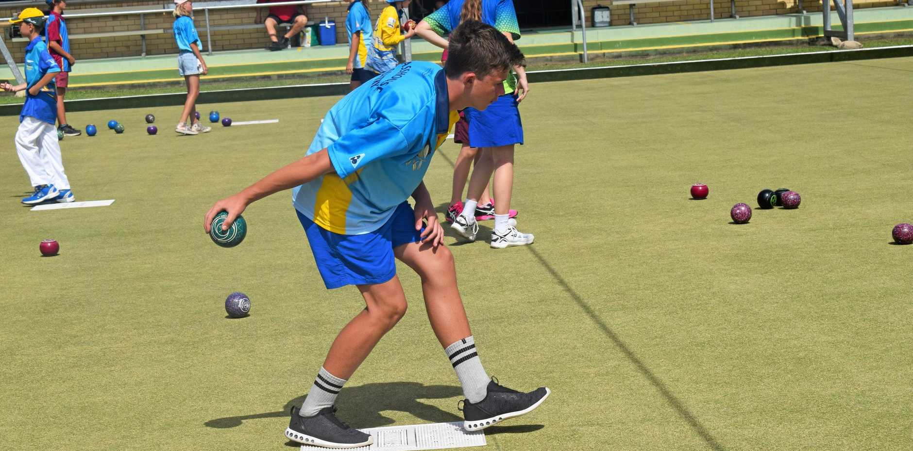 BOWLING BRILLIANCE: Albert Park Bowls Club junior Kynan Clark competing on Sunday afternoon.