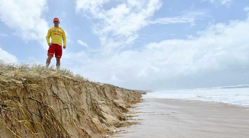Tyee Smith on patrol at Marcoola Beach overlooking erosion.