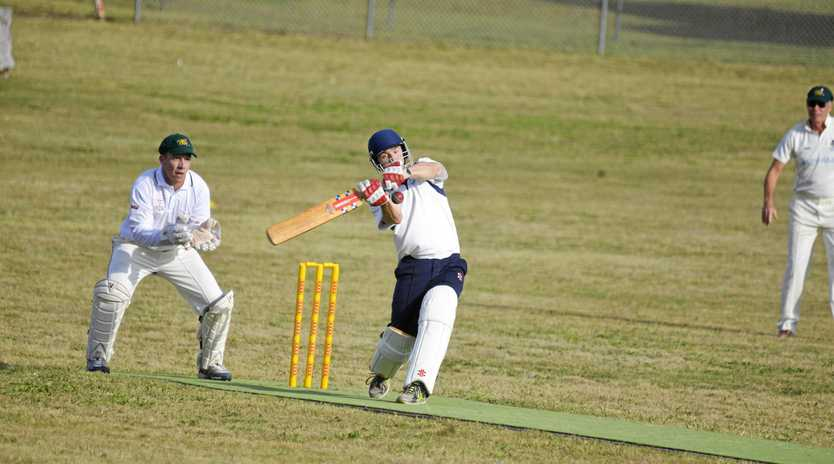 Andrew Ryan goes for a shot to the leg side in a game at Maryvale. He scored a century for his team on Sunday.