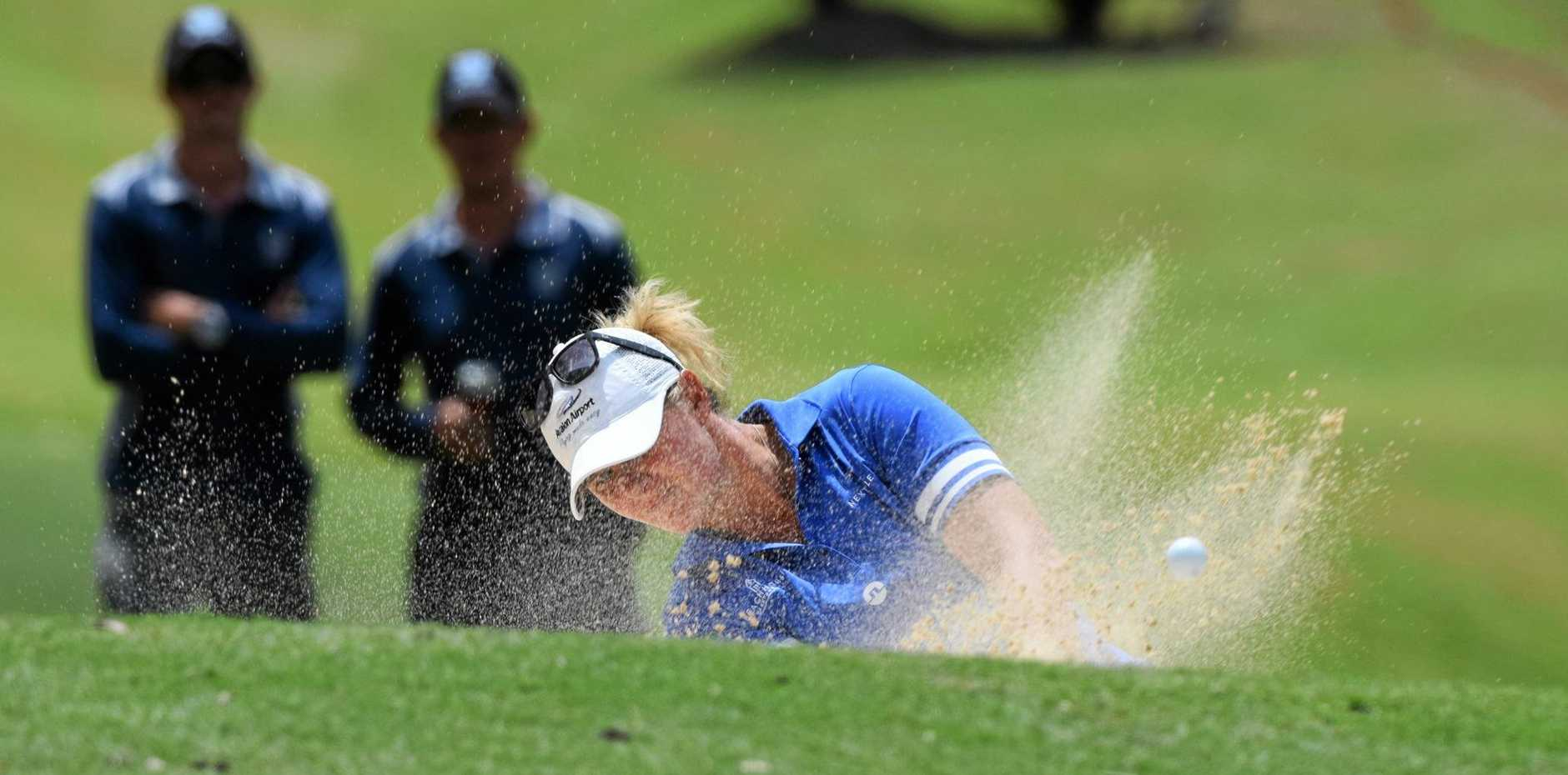 Norway's Marianne Skarpnord plays out of a bunker on the 16th hole on the final day of the 2019 Australian Ladies Classic at the Bonville Golf Resort.