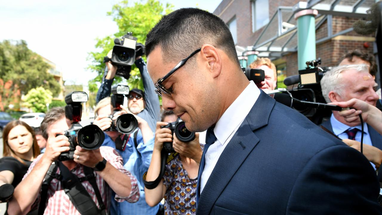 Jarryd Hayne leaves Burwood Local Court in Sydney, Monday, December 10, 2018, after facing court on sexual assault charges.