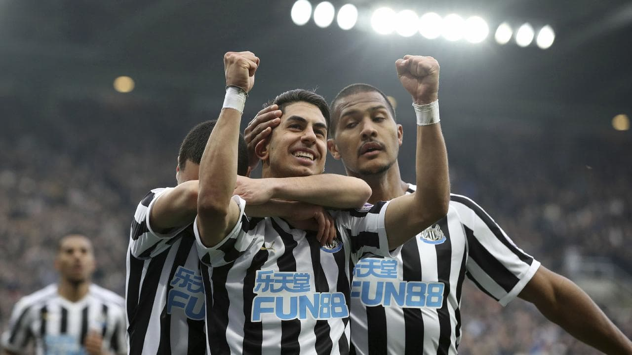 Newcastle United's Ayoze Perez celebrates scoring his side's second goal of the game