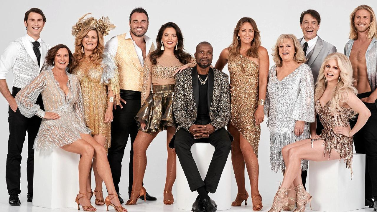 The 2019 cast of Dancing With The Stars, from left, Jimmy Rees, Cassandra Thorburn, Constance Hall, Miguel Maestre, Olympia Valance, Curtly Ambrose, Michelle Bridges, Denise Scott, Samuel Johnson, Courtney Act and Jett Kenny. Supplied by Channel 10.