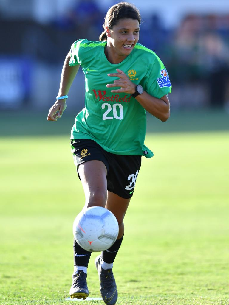 Sam Kerr training ahead of Thursday's clash with New Zealand. Picture: AAP