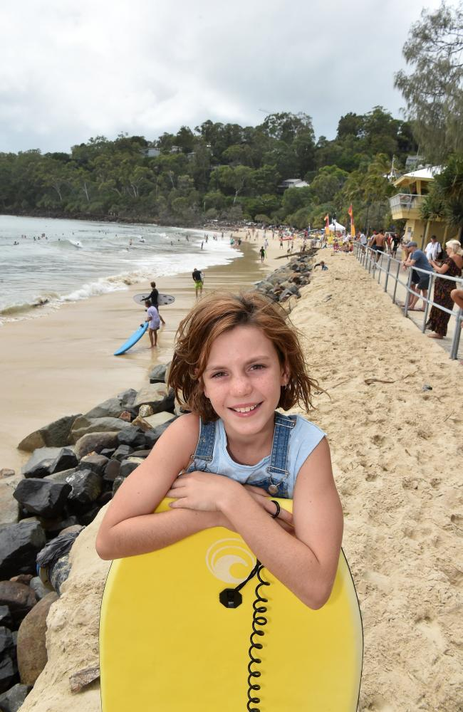 Windy and rough conditions on the Sunshine Coast from Cyclone Oma. Milla Kerrison,10, from Peregian waits for her turn to catch a wave. Picture: Warren Lynam