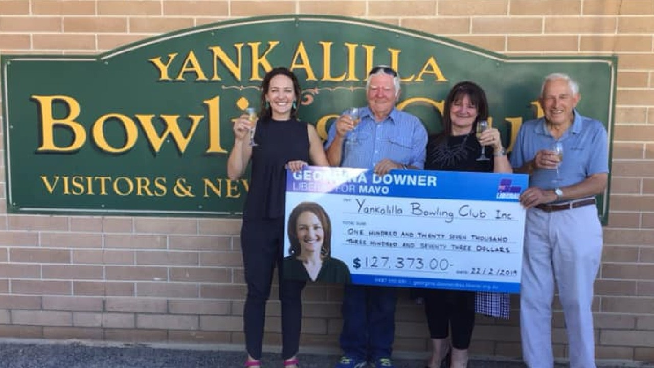 Georgina Downer, Liberal for Mayo, giving a cheque to the Yankalilla Bowling club. Picture: Georgina Downer
