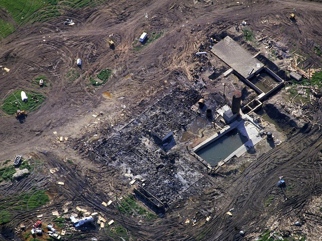 Aerial view of the charred remains (including concrete bunker) of the Branch Davidian compound in Waco burnt during showdown between the FBI/ATF and the David Koresh-led religious cult. Picture: Shelly Katz