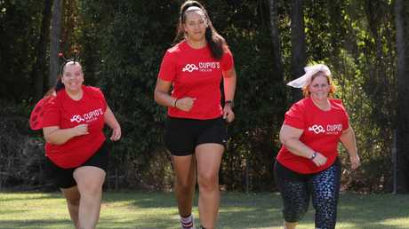 Staff from Bella's kindy, Guppy's Early Learning Centre at Nerang training for the Undie Run on the Gold Coast. Getting ready are, from left, Emily Wright, Aleesha Adams-Te Haara and Samantha Bailey. Picture Glenn Hampson