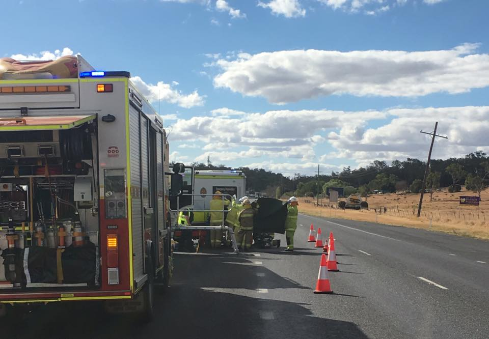 Scene of the crash on the Warrego Highway this afternoon. Picture: WIN News Toowoomba.