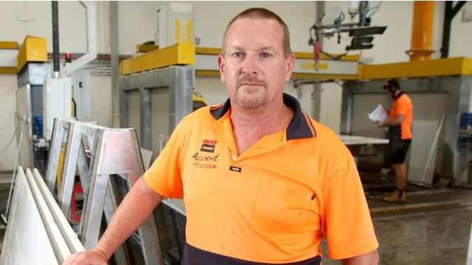 Accent Benchtops owner Glenn Brinkman says he has changed his business model to deal with the threat of not being paid. Picture: Steve Pohlner/AAP