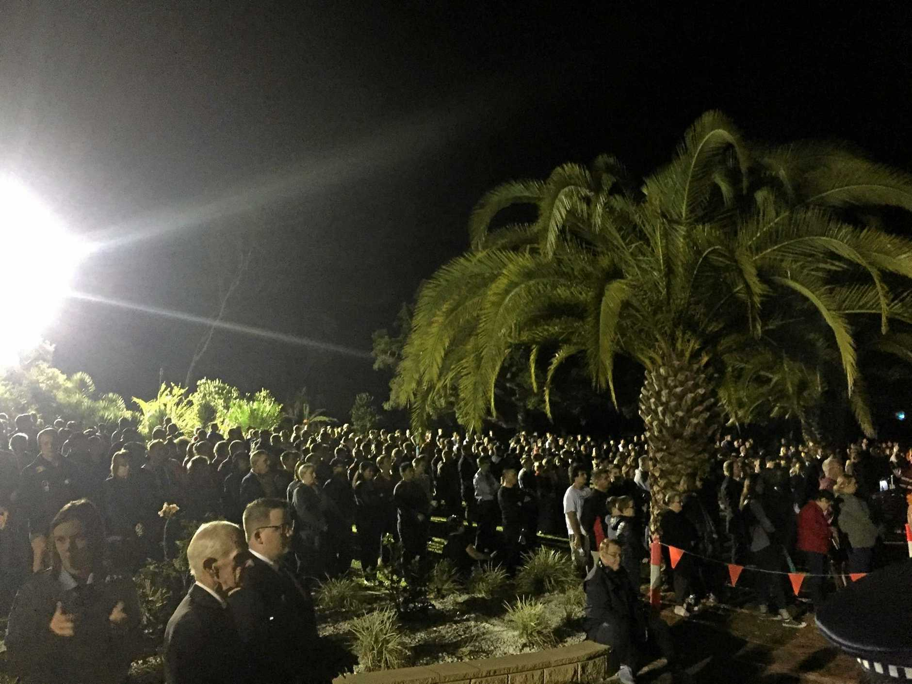 Thousands gathered at the Rockhampton Botanic Gardens for this morning's dawn service.