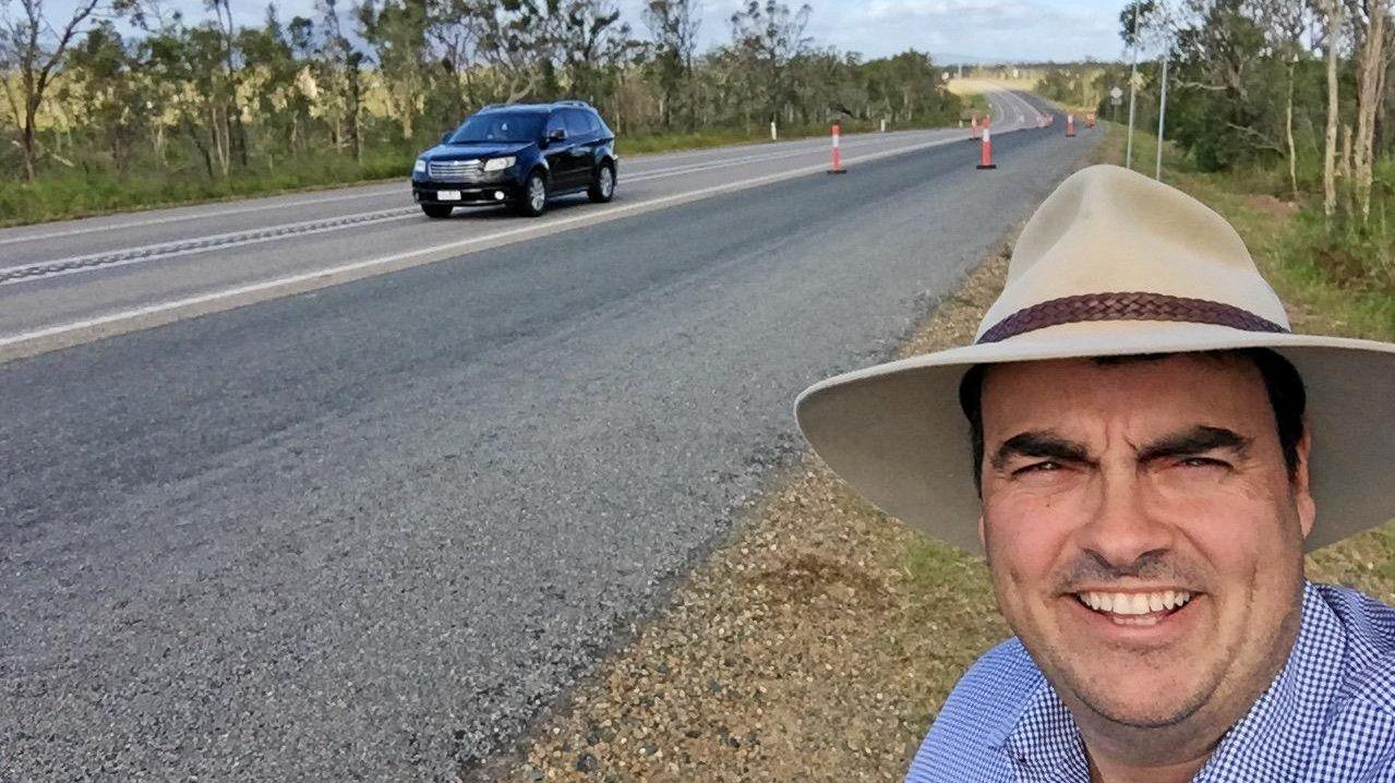 Member for Whitsunday Jason Costigan along the Bruce Hwy where is crosses the Goorganga Plains.