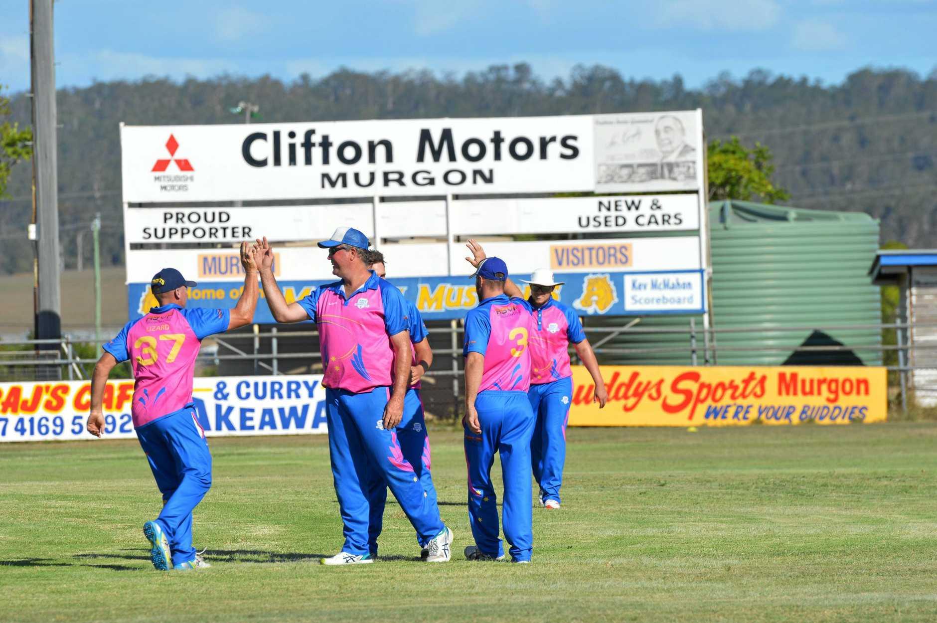 WINNING WAY: The Murgon Crusaders celebrate a wicket.