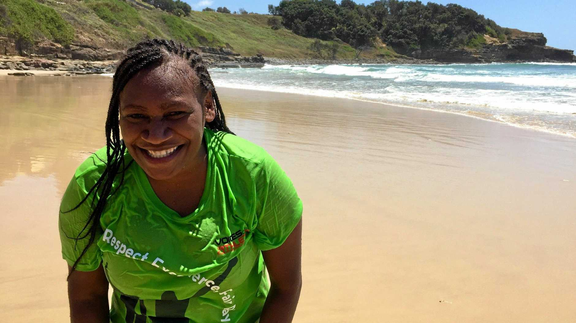Mary Sio, who is from Vanuatu and has lived in Maclean for five months, participated in the Maclean TAFE NSW Beach Safety Awareness Program at Main Beach, Yamba on Wednesday, 20th February, 2019.
