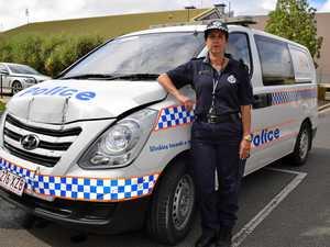 RAMMED: Three officers inside van when it was 'hit by truck'