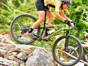 Schoolgirl rider climbing mountains