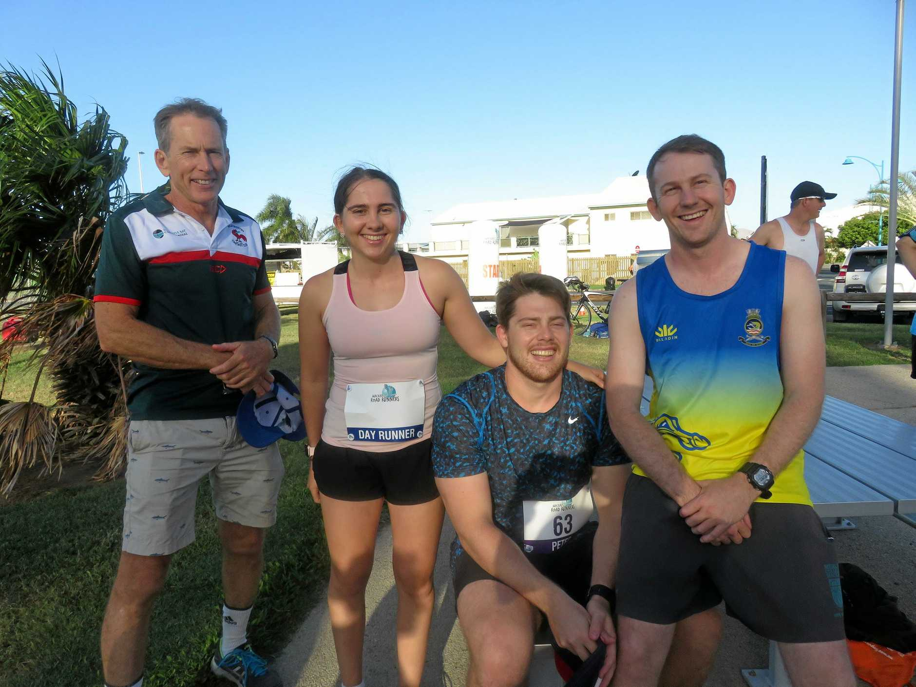 Mackay Road Runners captain Jim Ford (left) celebrates a birthday with his family - Anthea Ford, Peter Ford and Alex Ford.