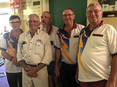 TOP DAY: Rainer Marschall, Lindsay Payne, Alf Edwards, Brian Dobie and Alex Barsby enjoy Eidsvold Bowls Club's famous Road Kill Day.