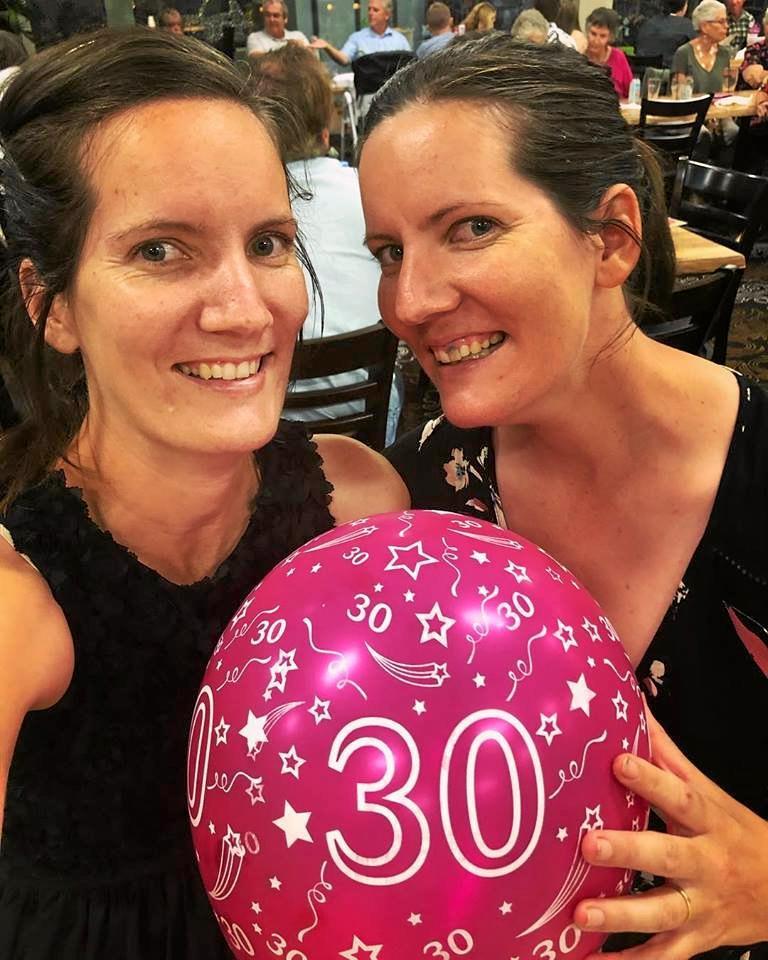 TWINS: Racheal Collier and Ashley Cronin enjoy their 30th birthday celebrations.
