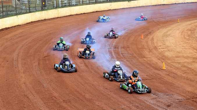 Standard class heat one at Maryborough Speedway dirt karts, February 23.