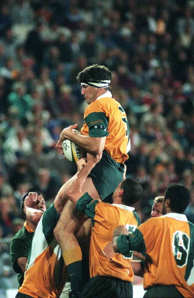 John Eales flies high for the Wallabies against South Africa back in 1997.