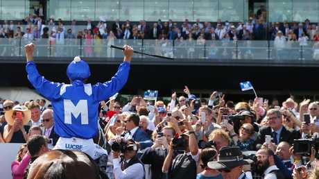 Hugh Bowman returns to scale after riding Winx to victory in the Apollo Stakes earlier this month. Pic: Getty Images
