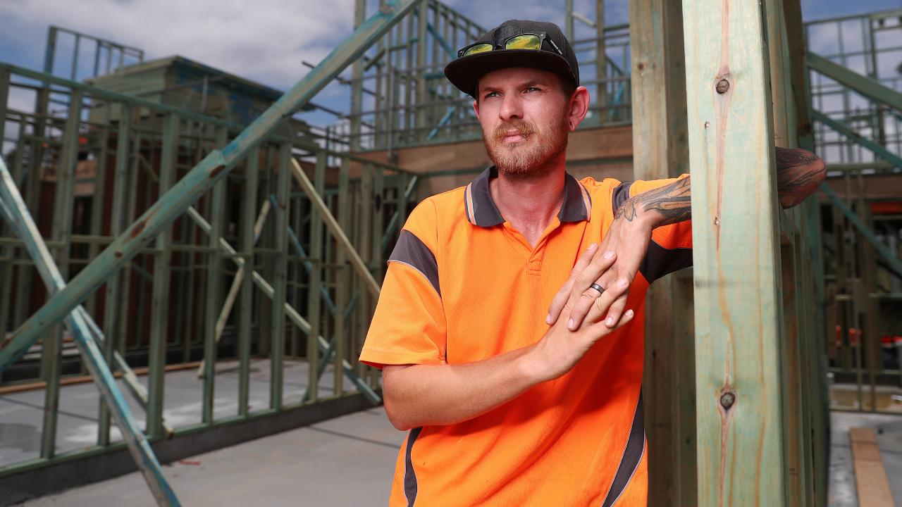 Carpenter Steve Purcell on a job site at Ripley in Ipswich. Picture: Peter Wallis