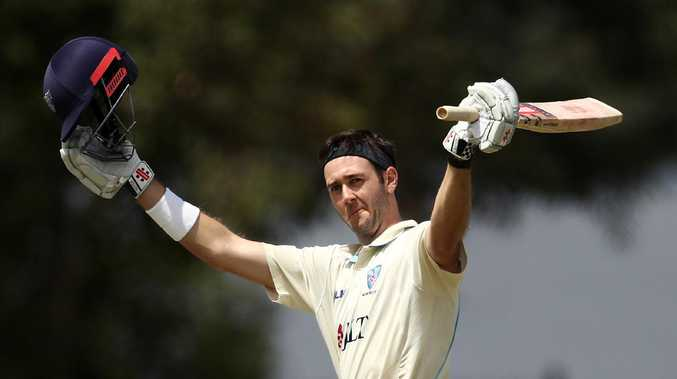 Kurtis Patterson celebrates scoring a century for NSW against Western Australia. Picture: Getty