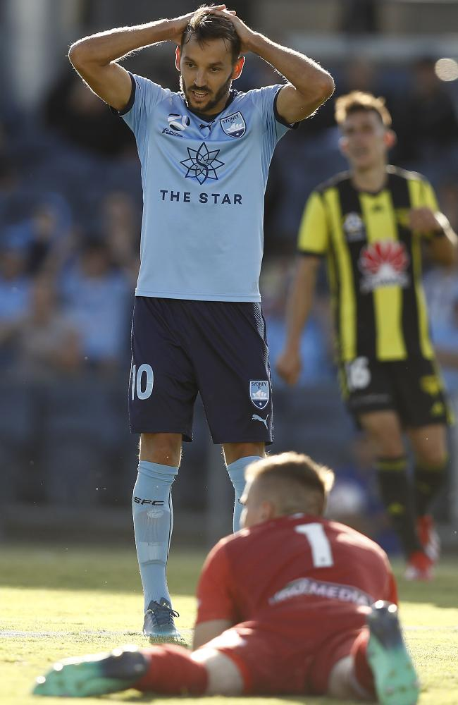 Milos Ninkovic laments failing to find the net on Saturday.