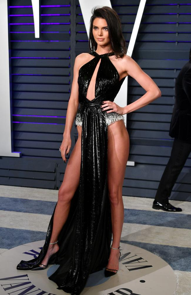 Kendall Jenner risked a wardrobe malfunction in her daring dress. Picture: Dia Dipasupil/Getty Images