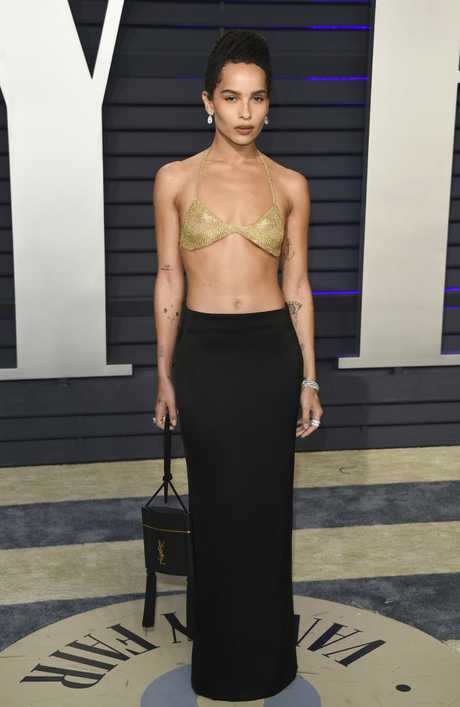 Zoe Kravitz rocks a typically unique look at the  Vanity Fair Oscar Party.