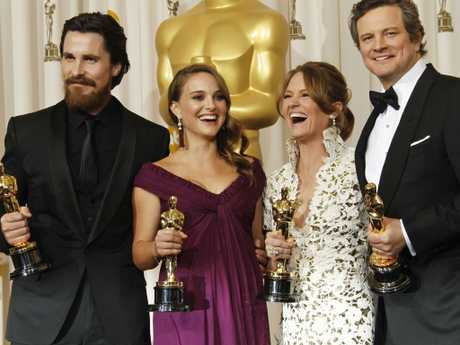 Natalie Portman (2nd L) with Oscar at the 83rd Academy Awards on in Hollywood, California, USA 27 Feb 2011. Picture: AP Photo/Matt Sayles