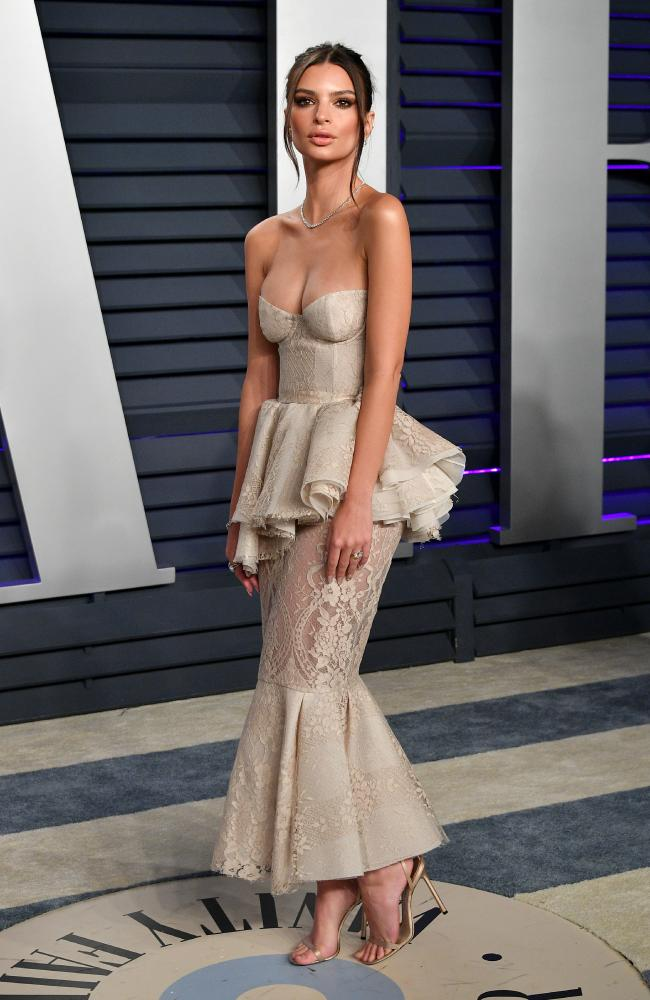 Emily Ratajkowski stuns in a revealing outfit at the glam bash. Picture: Getty Images