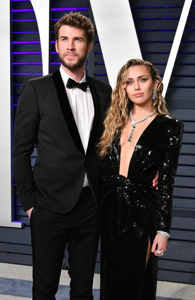 Newlyweds Liam Hemsworth and Miley Cyrus. Picture: Dia Dipasupil/Getty Images