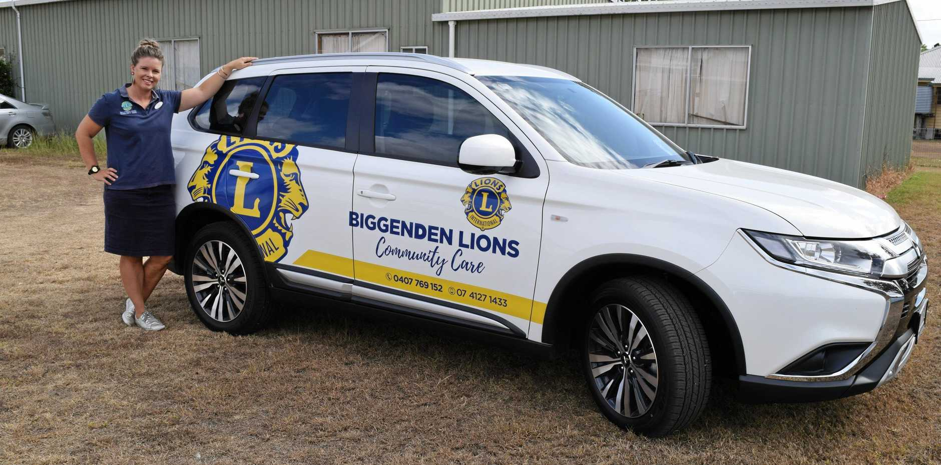 WELCOME SUPPORT: Biggenden Lions Community Care co-ordinator Leesa Sharps with the group's new car thanks to a grant.