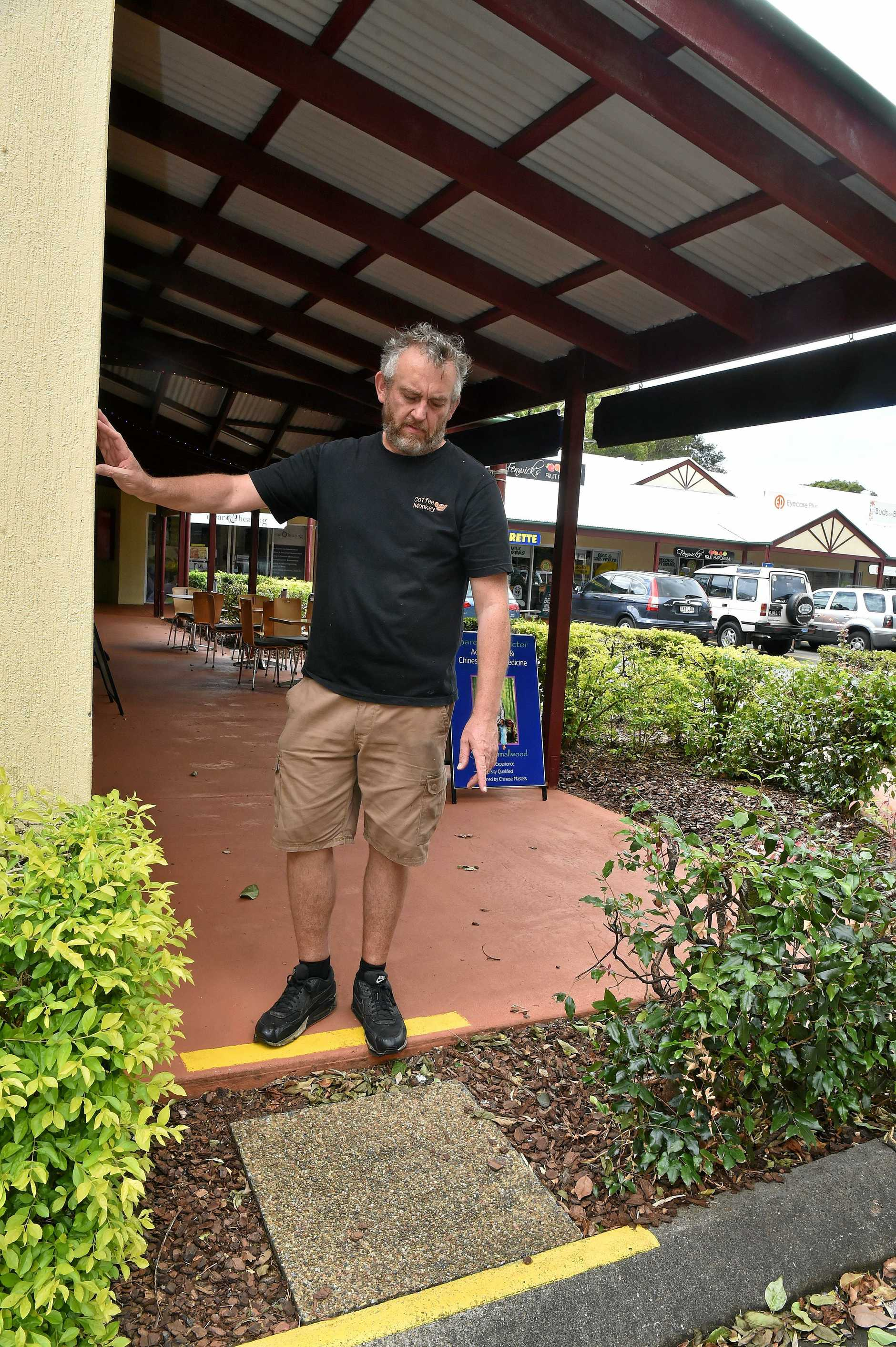 Buderim business owner Garrie James is concerned about pedestrian safety at the Buderim Central Shopping Village.