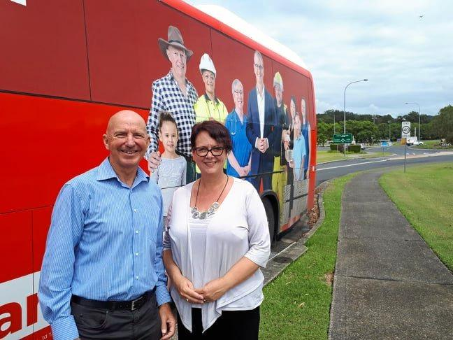 JOBS AND TRAINING: Labor candidate for Coffs Harbour Tony Judge with Deputy Labor Leader Penny Sharpe at Coffs Harbour Education Campus.