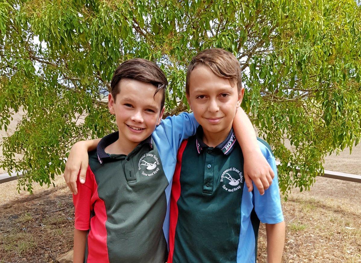 LEADING THE WAY: Boynewood State School's 2019 captains Luke Moloney and Kainen Beezley.