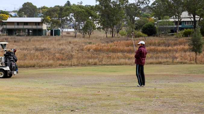 EYE ON THE PRIZE: Lorraine Lindenmayer watches where the ball goes at the Mundubbera Golf Club.