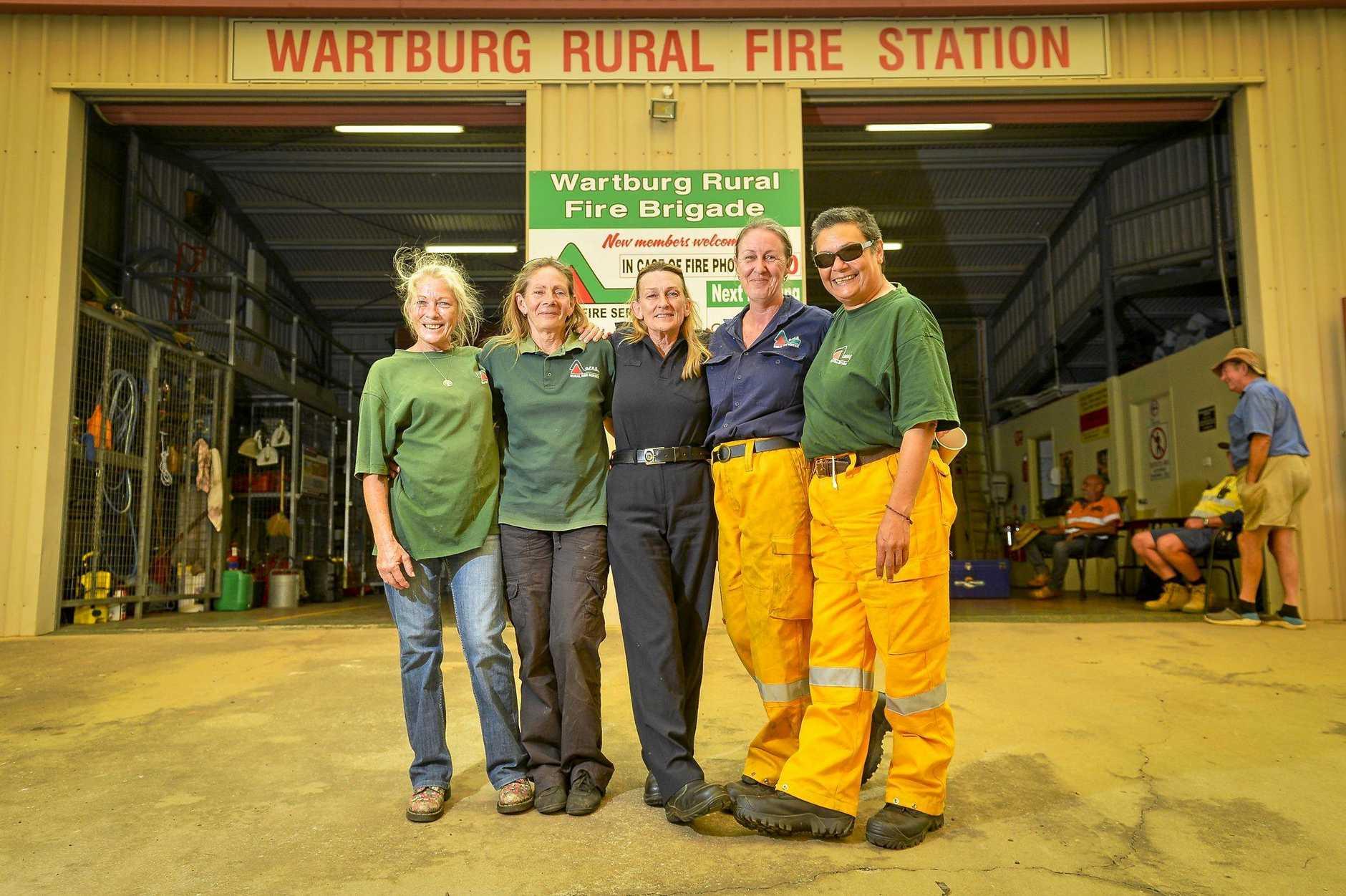 Kay Harding, Margaret Paskevicius, Judy Ferrari, Karen Hale and Kiki Morgan of the Wartburg Rural Fire Brigade.