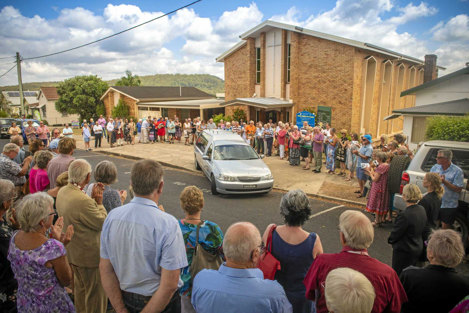 A guard of honur was fored outside the Maclean Anglican Church to pay tribute to long time Maclean High School science teacher Allan Cameron who died January, 2019 aged 81 years
