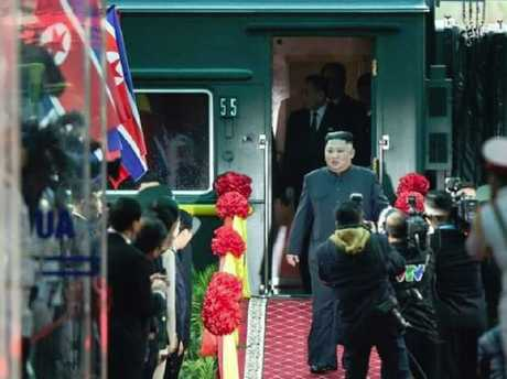 Kim Jong-un walks alone from his personal train ahead of a second summit with Donald Trump. Picture: YouTube