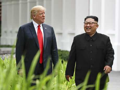 Donald Trump and Kim Jong-un during last year's meeting on  Sentosa Island in Singapore. Picture: AP