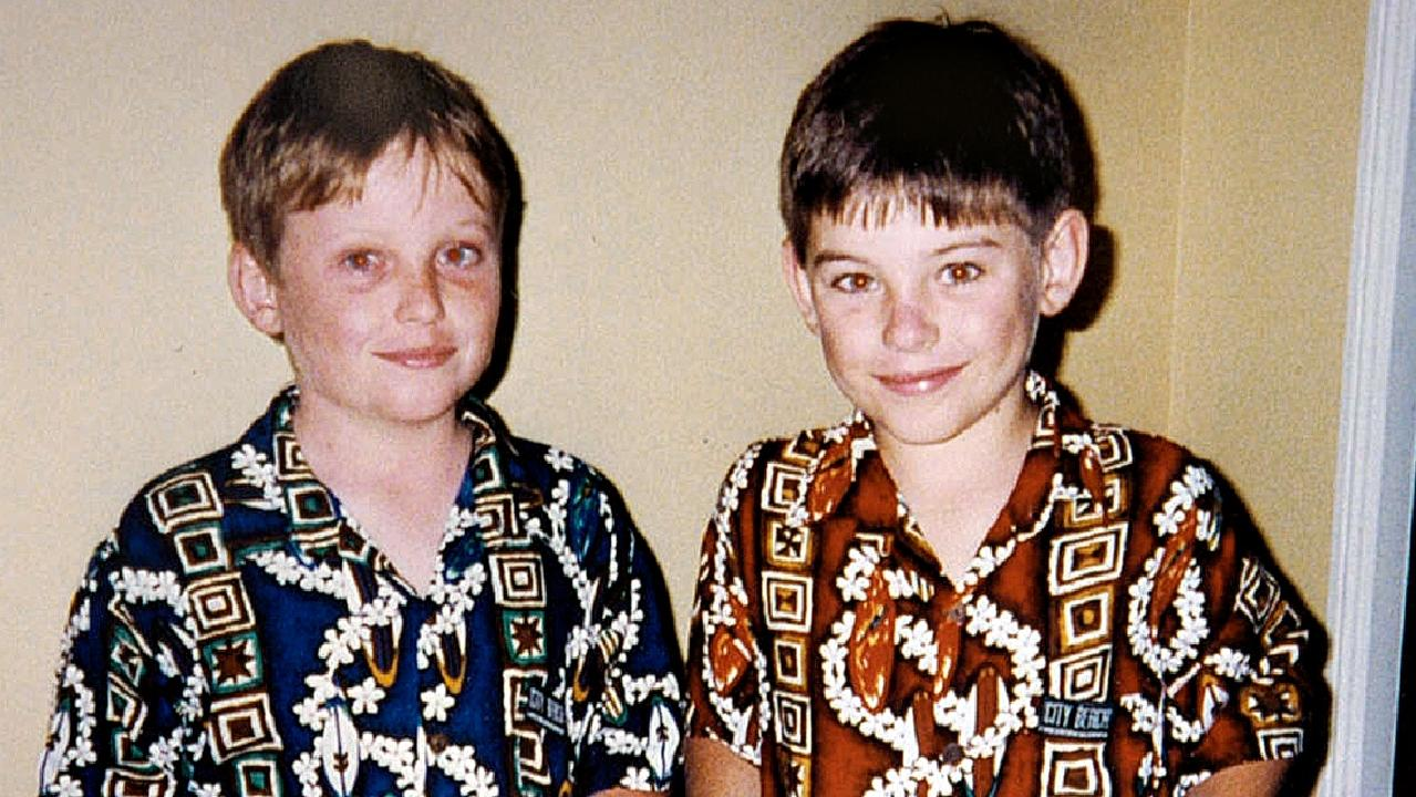 Daniel Morcombe (right) with his twin brother. Picture: supplied